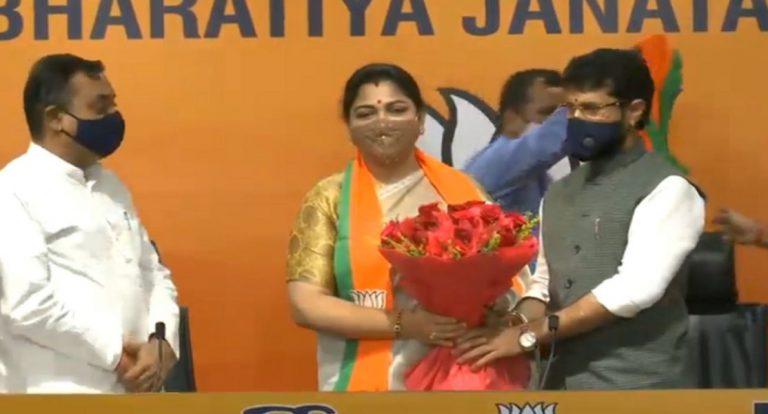 कांग्रेस से इस्तीफा देने के बाद भाजपा में शामिल हुईं खुशबू सुंदर
